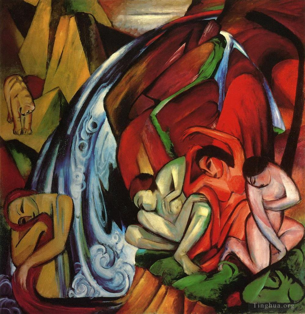 The Waterfall Franz Marc