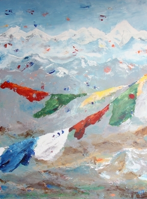 Contemporary Oil Painting - Prayer Flags on the Himalayas