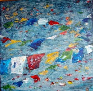 contemporary oil painting - Floating Flags in Blue Wind