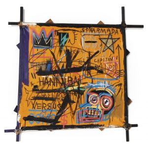 The Selling Price of American Expressionist Artist Jean-Michel Basquiat's Collage is 10565 million Pounds