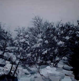 Contemporary Artwork by Wang Panpan - Evening Snow in the Cold Wood