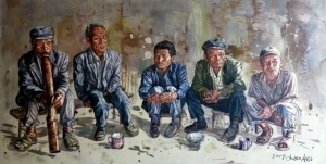 Contemporary Oil Painting - The Old Men at Hometown