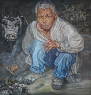 Contemporary Oil Painting - The Hani Old Man at Home