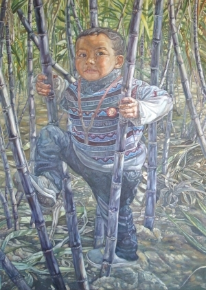 Contemporary Oil Painting - In Sugarcanes
