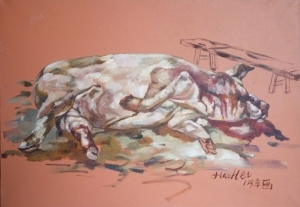 Contemporary Oil Painting - A Killed Pig