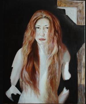Contemporary Oil Painting - Dark Portrait -2 – internet girl - 2012