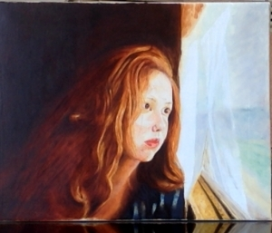 Contemporary Oil Painting - Girl in front of train window