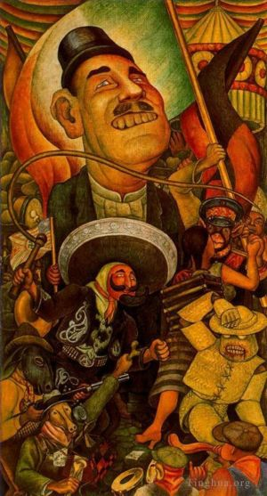 Carnival of mexican life dictatorship 1936 - Contemporary Various Paintings