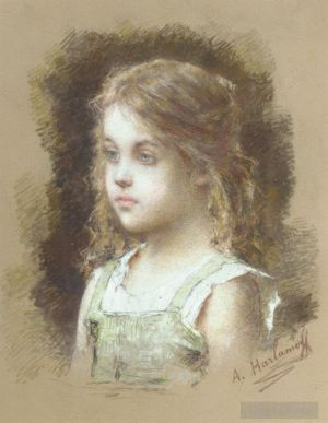 Antique Various Paintings - Young Girl in a Green Tunic