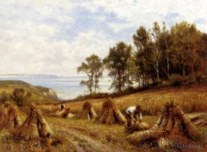 Antique Oil Painting - In The Cornfields Near Luccombe Isle Of Wight