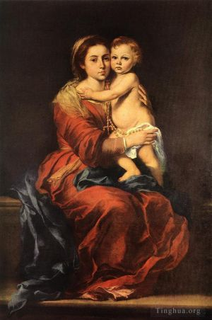 Antique Oil Painting - Virgin and Child with a Rosary