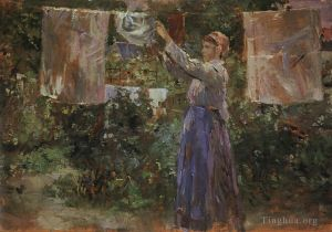 Antique Oil Painting - Peasant Hanging out the Washing