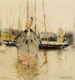 Antique Various Paintings - Boats Entry to the Medina in the Isle of Wight