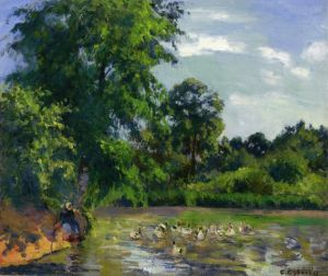 Antique Oil Painting - Ducks on the pond at montfoucault