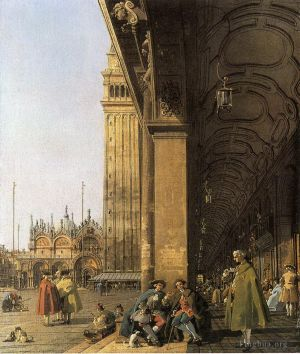 Antique Oil Painting - Piazza san marco looking east from the southwest corner piazza san marco and he colonnade