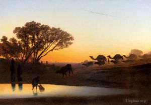 Antique Oil Painting - Sunset On The Nile scenery Charles Theodore Frere