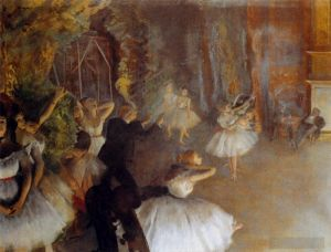 Antique Oil Painting - The Rehearsal Of The Ballet Impressionism balletdancer