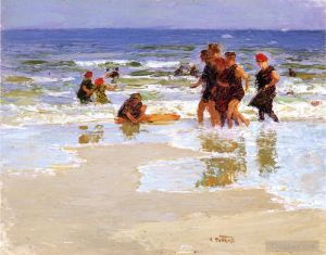 Antique Oil Painting - At the Seashore