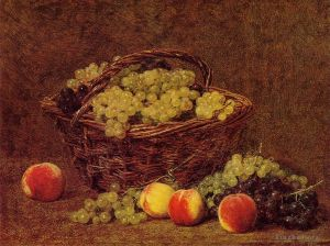 Antique Oil Painting - Basket of White Grapes and Peaches