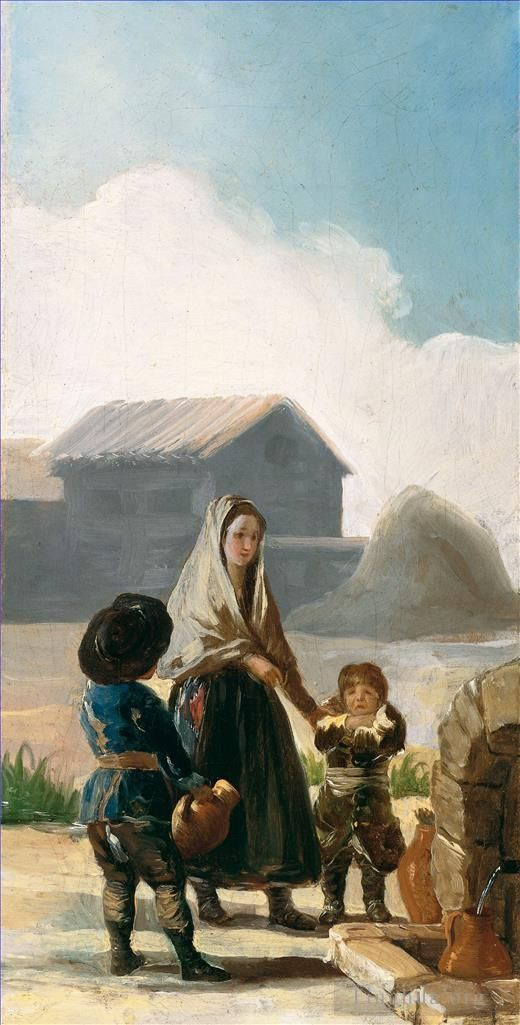 Francisco Goya Oil Painting - A woman and two children by a fountain