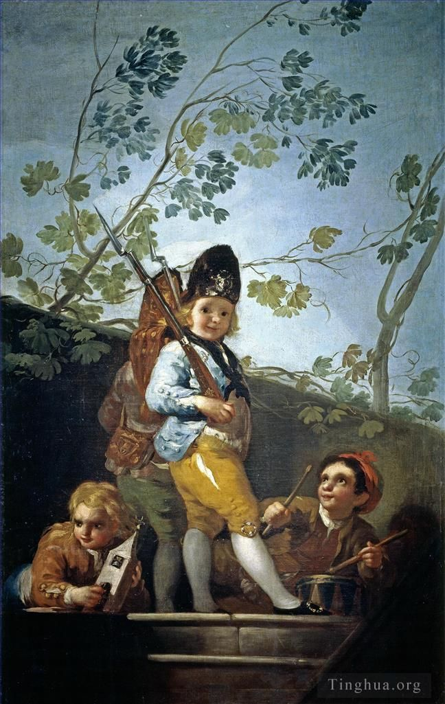 Francisco Goya Oil Painting - Boys playing soldiers