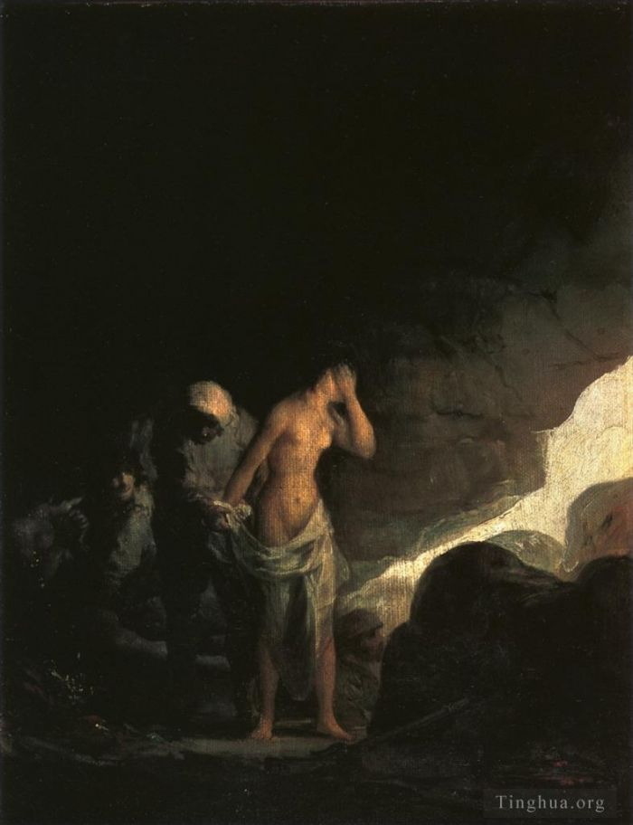 Francisco Goya Oil Painting - Brigand Stripping a Woman