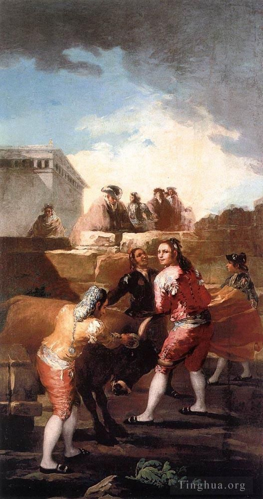 Francisco Goya Oil Painting - Fight_with_a_Young_Bull
