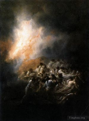 Antique Oil Painting - Fire at Night