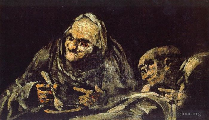 Francisco Goya Oil Painting - Old eating soup
