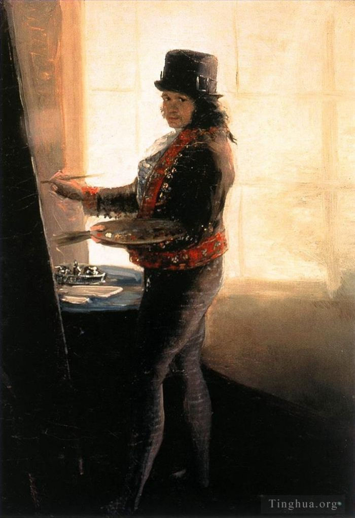Francisco Goya Oil Painting - Self portrait in the Studio