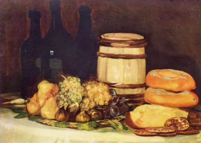 Francisco Goya Oil Painting - Still life with fruit bottles breads