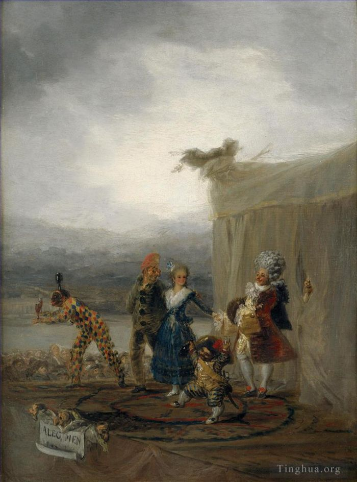 Francisco Goya Oil Painting - The Strolling Players