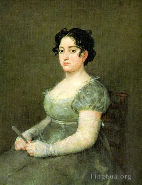 Francisco Goya Oil Painting - The Woman with a Fan