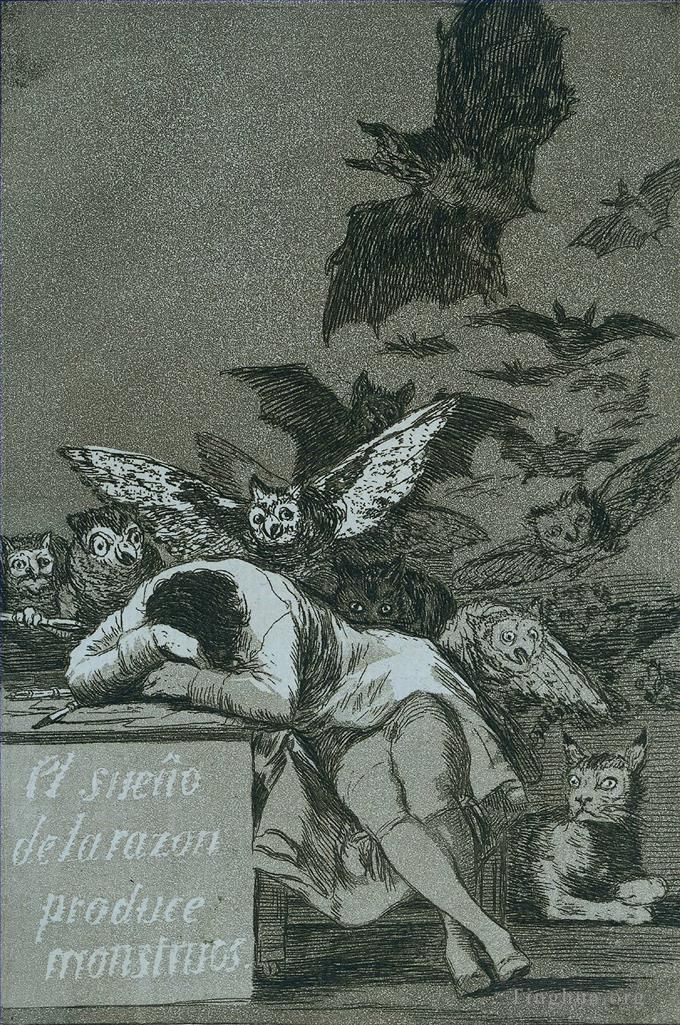 Francisco Goya Oil Painting - The sleep of reason brings forth monsters