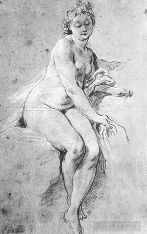 Antique Various Paintings - Seated Nude