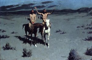 Antique Oil Painting - Pretty Mother of the Night Old American West cowboy Indian Frederic Remington
