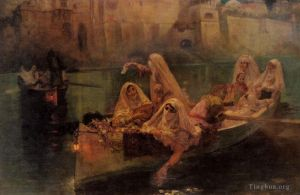 Antique Oil Painting - The Harem Boats