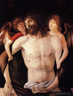 Antique Oil Painting - The dead christ supported by two angels