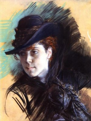 Antique Various Paintings - Girl In A Black Hat