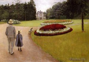Antique Oil Painting - The Park on the Caillebotte Property at Yerres