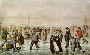 Antique Various Paintings - A Scene On The Ice winter landscape
