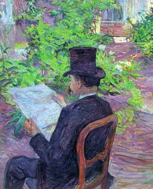 Antique Various Paintings - Desire dehau reading a newspaper in the garden 1890