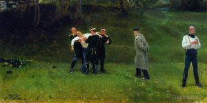 Antique Oil Painting - The duel 1897