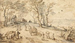 Antique Various Paintings - Villagers On Their Way To Market