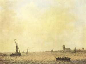 Antique Oil Painting - View of Dordrecht from the Oude Maas