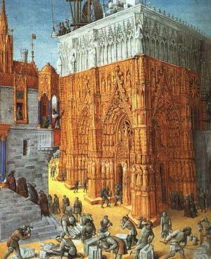 Antique Oil Painting - The Building Of A Cathedral