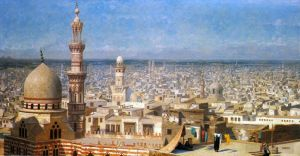 Antique Oil Painting - View Of Cairo