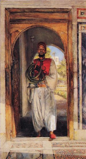 Antique Oil Painting - The Pipe bearer