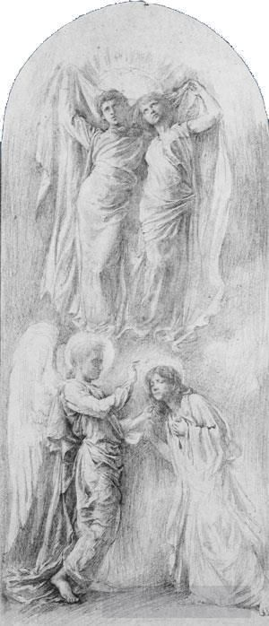 Antique Various Paintings - Angel Sealing The Servants Of God