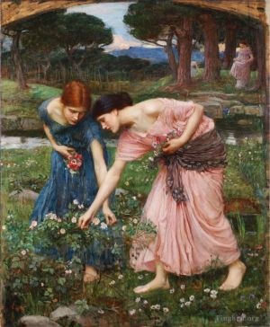 Antique Oil Painting - Gather ye rosebuds while ye may 1909